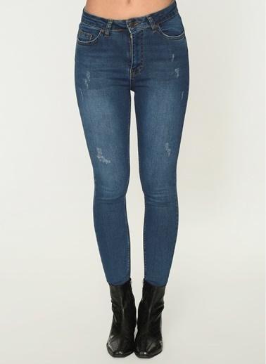 Loves You Koyu Yıkama Tırnaklı Yüksel Bel Jean Pantolon Mavi